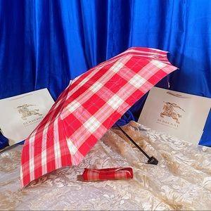 AUTH BURBERRY Red Tartan Plaid Foldable Umbrella